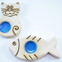 Slab Fish & Cat Candle Holder