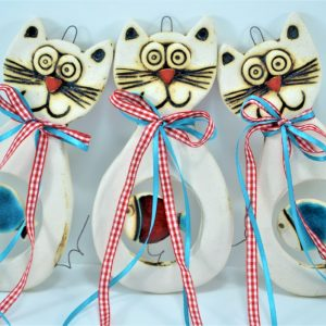 Cat with a Fish ceramic