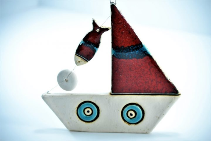 Boat with a Fish ceramic