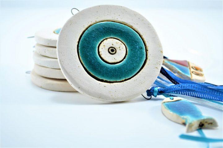 Μάτι Στρογγυλό Ψάρι & Καράβι κεραμικο