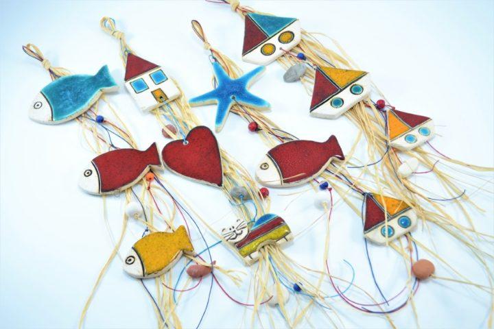 Fish, Boat, Starfish & House 3 pcs ceramic
