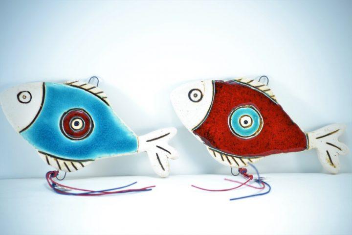 Γούρια Σειρά Με Μάτι Σιέλ & Κόκκινο Ψάρι κεραμικο