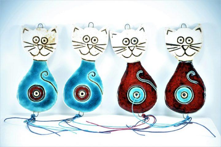 Γούρια Σειρά Με Μάτι Σιέλ & Κόκκινη Γάτα κεραμικο