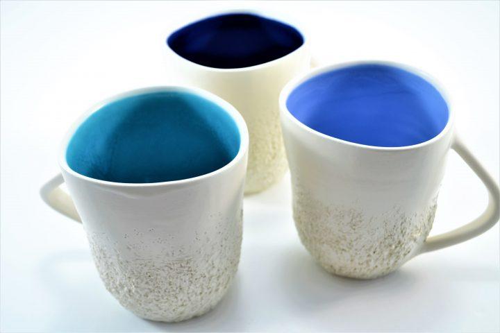 Sponge Mug Turquoise Blue, Lavender & Blue ceramic
