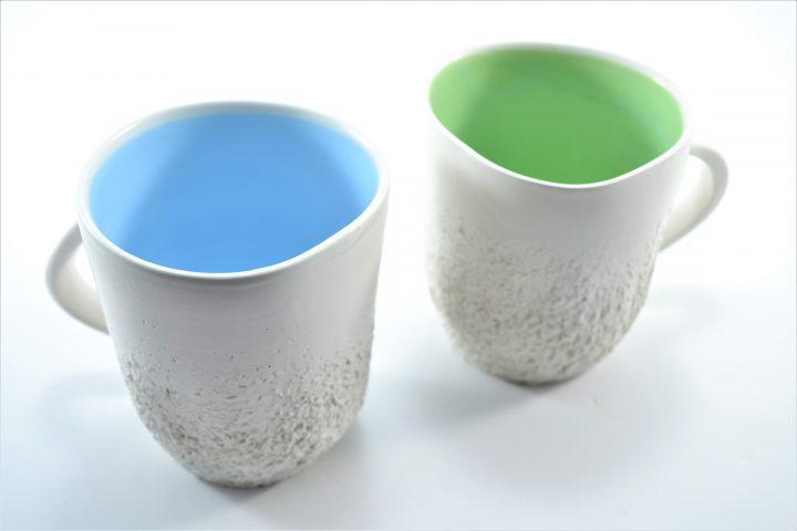 Sponge Mug Light Blue & Pistachio Green ceramic