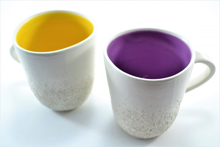 Sponge Mug Yellow & Purple ceramic