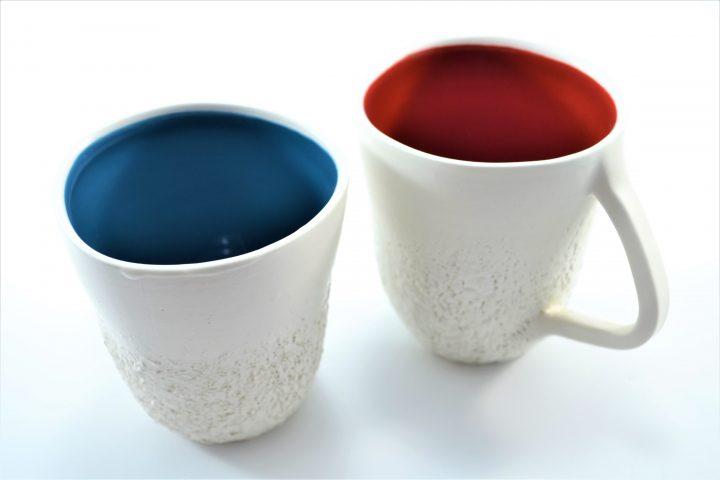 Sponge Mug Petrol Blue & Red ceramic