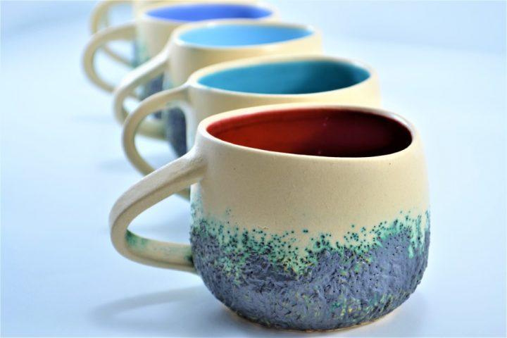 Boulder Mug Blue Lavender, Turquoise Blue & Red ceramic