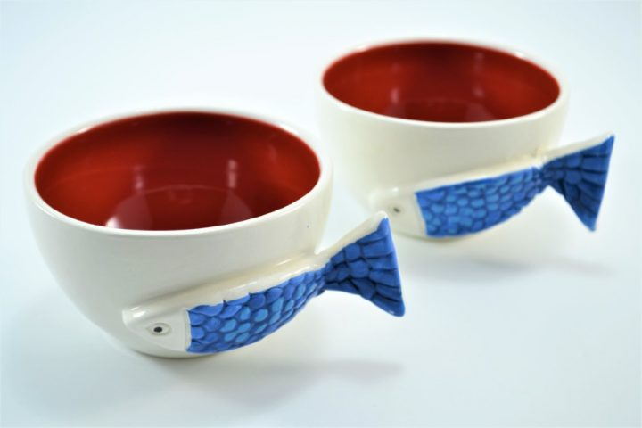 Fish Handle Cup Red ceramic