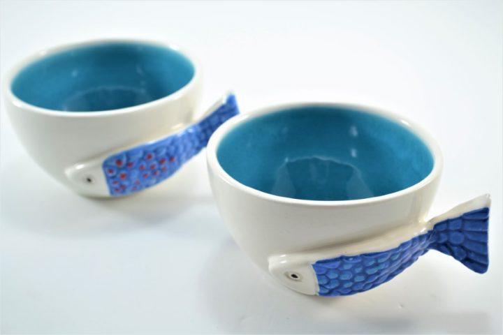 Fish Handle Cup Turquoise Blue ceramic