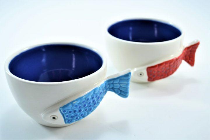 Fish Handle Cup Blue ceramic