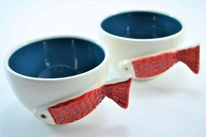 Fish Handle Cup Petrol Blue ceramic