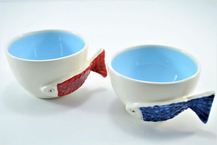 Fish Handle Cup Light Blue ceramic