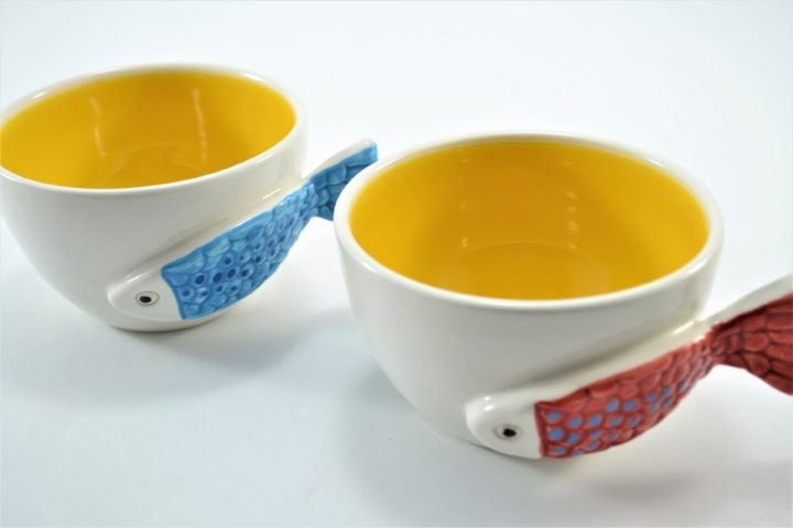 Fish Handle Cup Yellow ceramic
