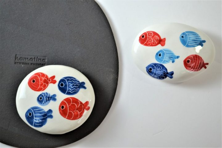 Paintings on Pebbles - Fat Fish ceramic