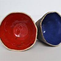 Sponge Bowls Red & Blue ceramic