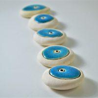 Small Pebble Turquoise Blue ceramic