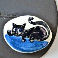 Βοτσαλάκια Ζωγραφική Μαύρη Γάτα Μπλε