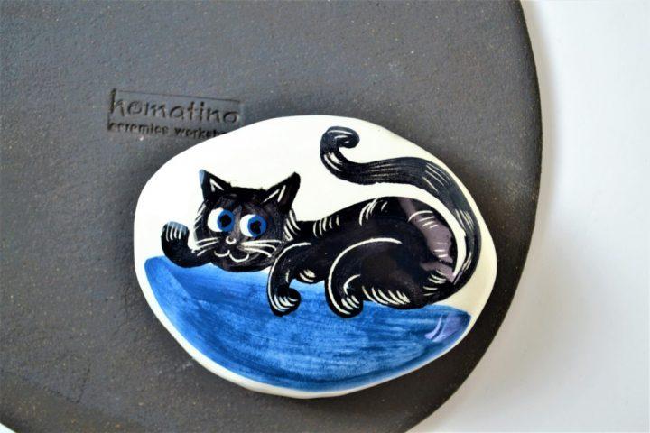 Paintings on Pebbles - Black Cat In Blue ceramic