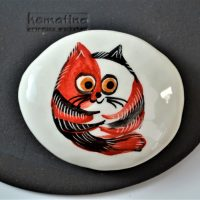 Paintings on Pebbles - Red Cartoon Cat ceramic