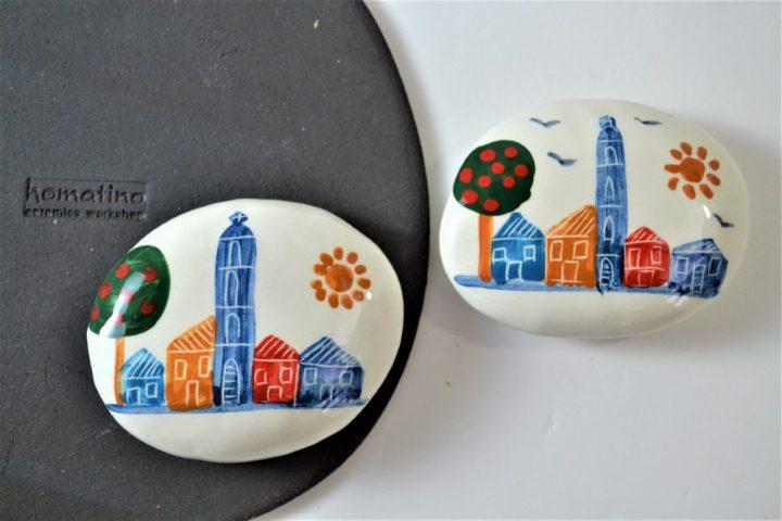 Paintings on Pebbles - Village ceramic