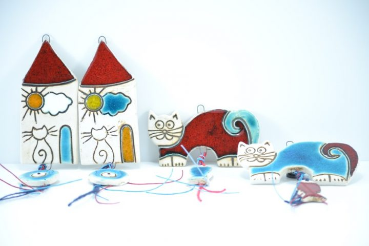 House with an Eye, Red & Turquoise Blue Cat with a Fish Charms ceramic