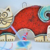 Red Cat with a Fish Charms ceramic