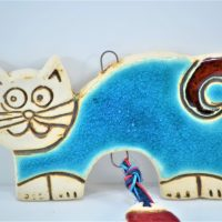 Turquoise Blue Cat with a Fish Charms ceramic
