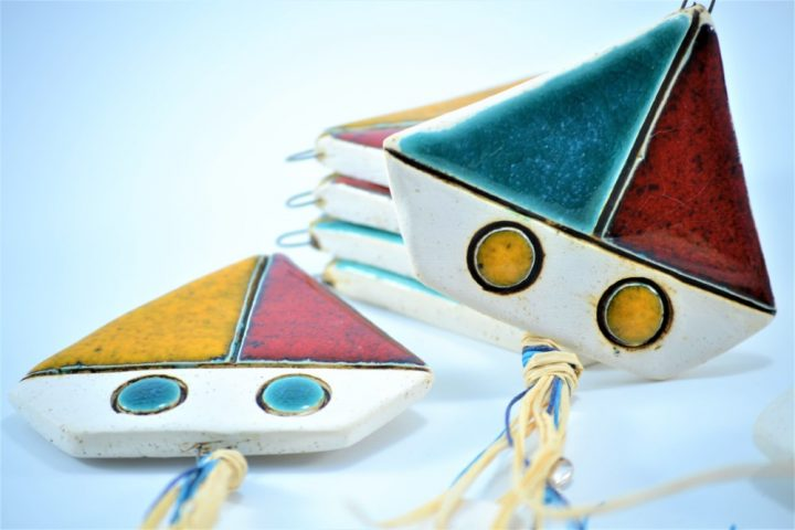 Red-Turquoise Blue Boat & Red-Orange Boat Charms D ceramic