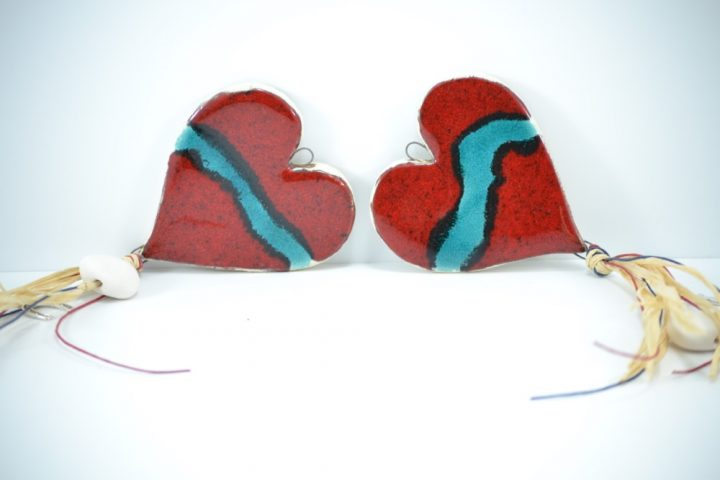 Heart Charms D ceramic