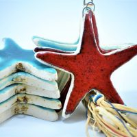 Red Starfish & Turquoise Blue Starfish Charms D ceramic