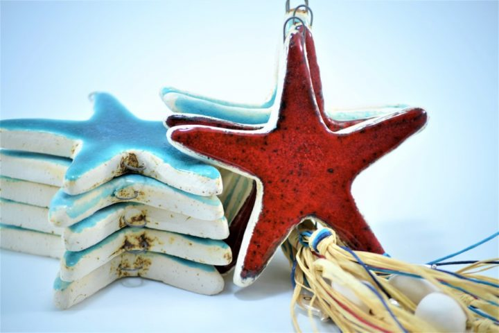 Red Starfish & Turquoise Blue Starfish Charms D ceramic