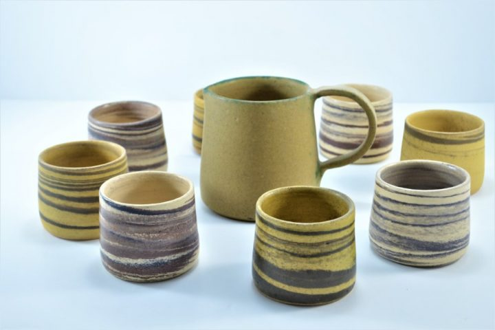 Wine Cup Mixed Clay Yellow Of Ochre & Beige Of Sand ceramic