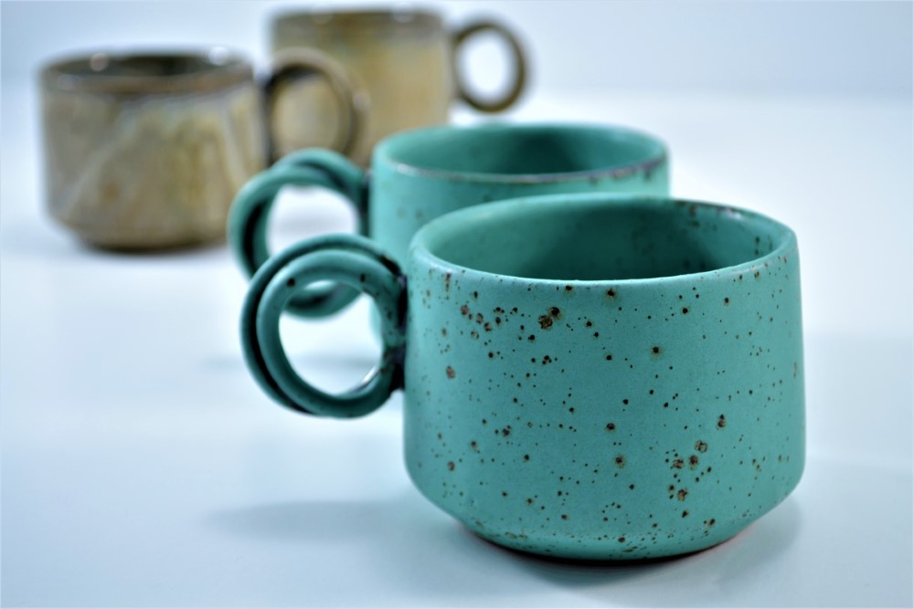 Double-handle Mug Turquoise Blue With Specks & Brown On Stone ceramic