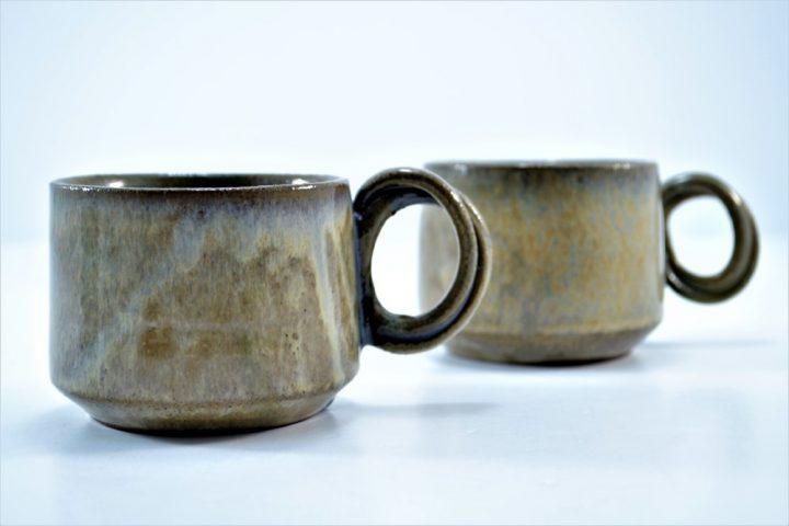 Double-handle Mug Brown On Stone ceramic