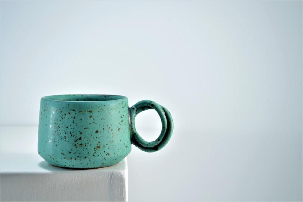 Double-handle Mug Turquoise Blue With Specks ceramic