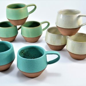 Conical Mug White of Perle & Turquoise Blue With Specks ceramic