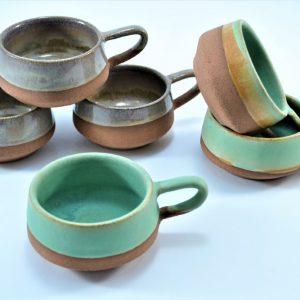 Short Cup Sumatra Green & White of Pearl ceramic