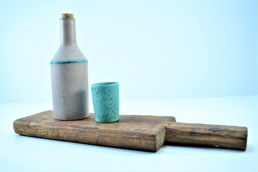 Shot Glasses Turquoise Blue with Specks ceramic