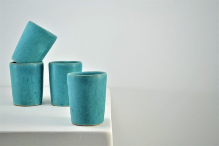 Shot Glasses Turquoise Blue ceramic