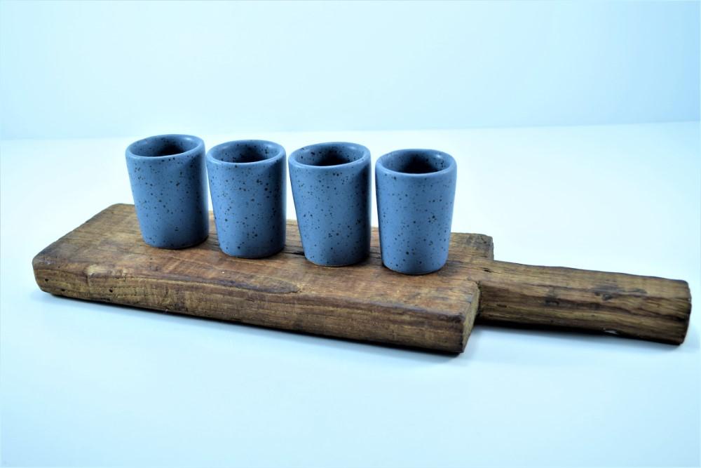 Shot Glasses Indigo with Specks ceramic