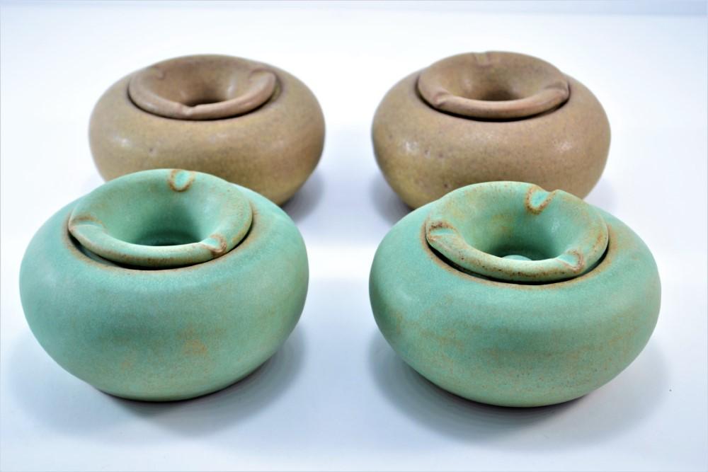 Windproof Ashtray Almond Brown & Sumatra Green ceramic