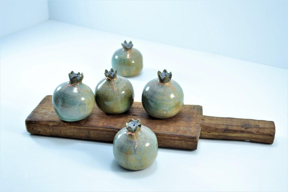 Pomegranate Brown on Stone ceramic