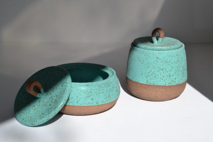 Storage Container Turquoise Blue with Specks Tall & Short ceramic