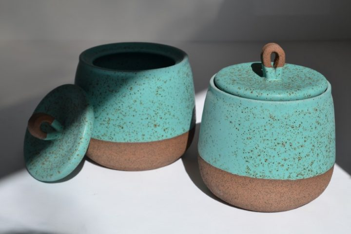 Storage Container Turquoise Blue with Specks Tall ceramic