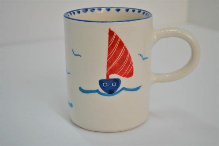 Cylinder Mug Boat with Lighthouse ceramic