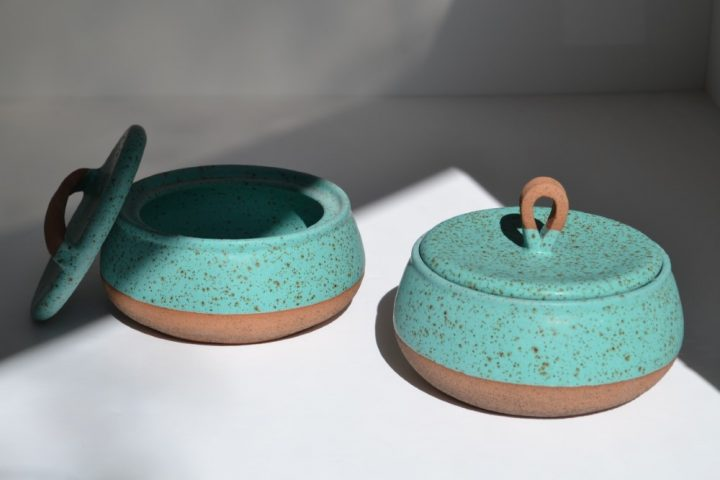 Storage Container Turquoise Blue with Specks Short ceramic