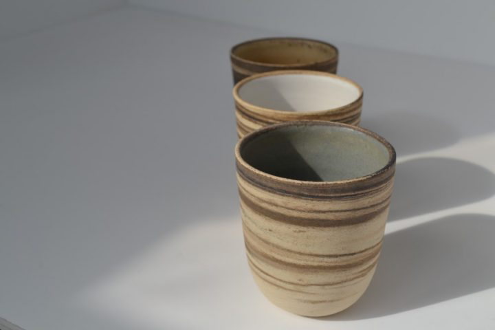 Cup Mixed Clay Blue Grey, Sand & White ceramic