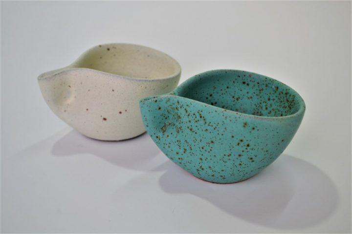 Minimal Espresso Cup Cream & Turquoise Blue with Specks ceramic