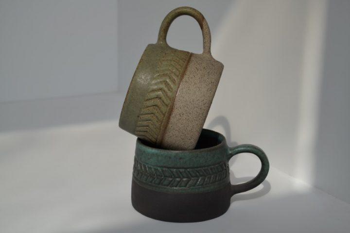 Fishbone Carved Green/Anthracite & Khaki/Grey ceramic